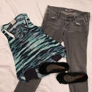 Navy and teal stripped tank top